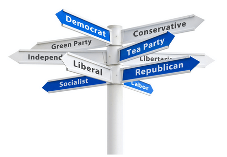 Signpost with too many partisan political parties